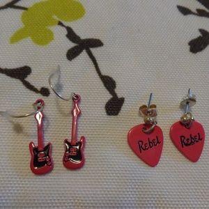 Guitar and Rebel Rebel Pick Earring Set